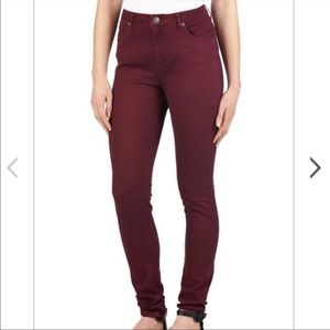 Cotton On High Waisted Burgundy Skinny Jeans Sz 4